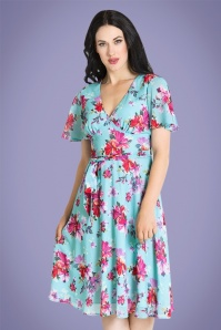 50s Primavera Floral Dress in Blue