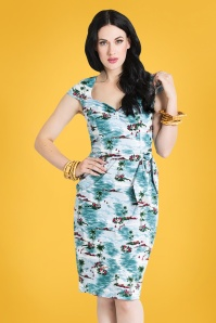 50s Nissi Pencil Dress in Hawaii Blue
