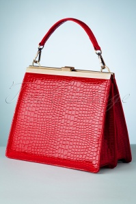 50s Solange Crocodile Lock Bag in Red
