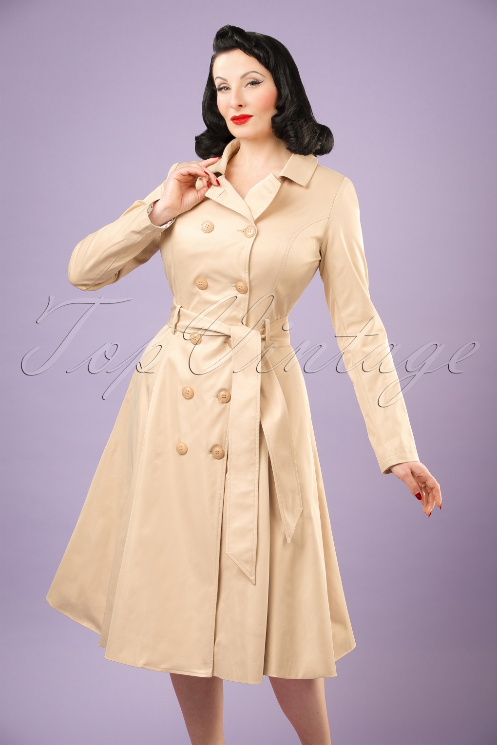 1950s Jackets, Coats, Bolero | Swing, Pin Up, Rockabilly 40s Korrina Swing Trench Coat in Beige �128.62 AT vintagedancer.com