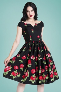 50s Marlena Roses Swing Dress in Black