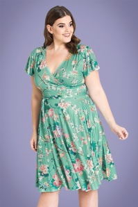 50s Midori Floral Dress in Mint