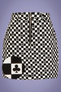 60s Pokerface Mini Skirt in Black and White