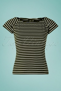 50s Verity Top in Black and White Stripes