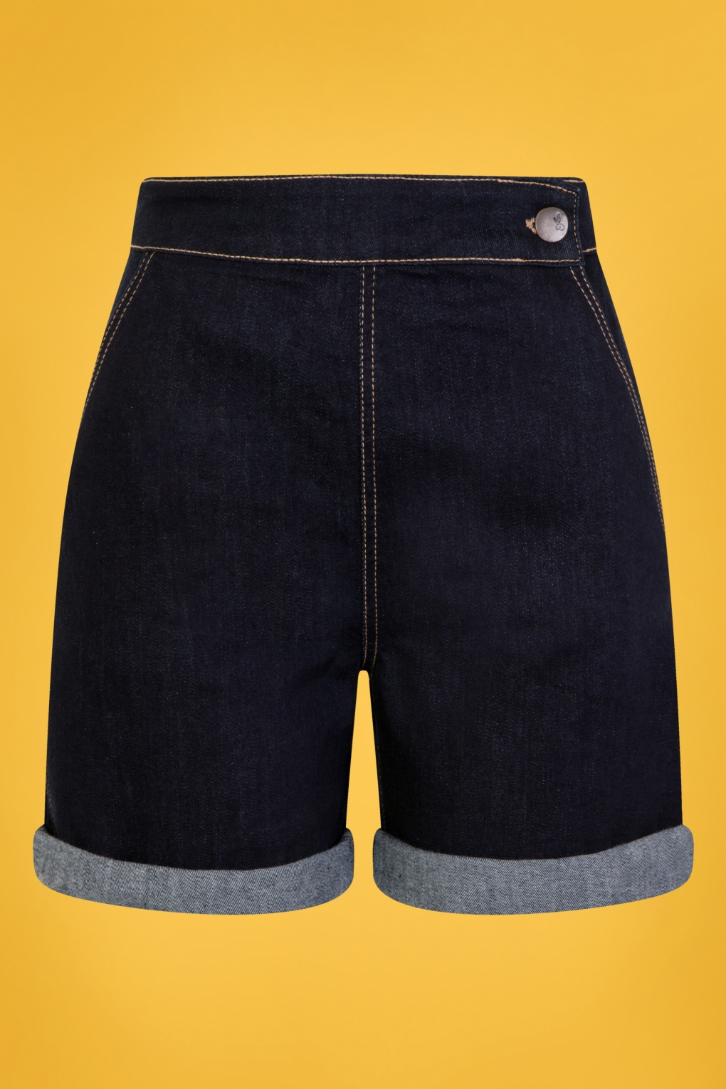 60s Mod Clothing Outfit Ideas 50s Yaz Denim Shorts in Navy £27.41 AT vintagedancer.com