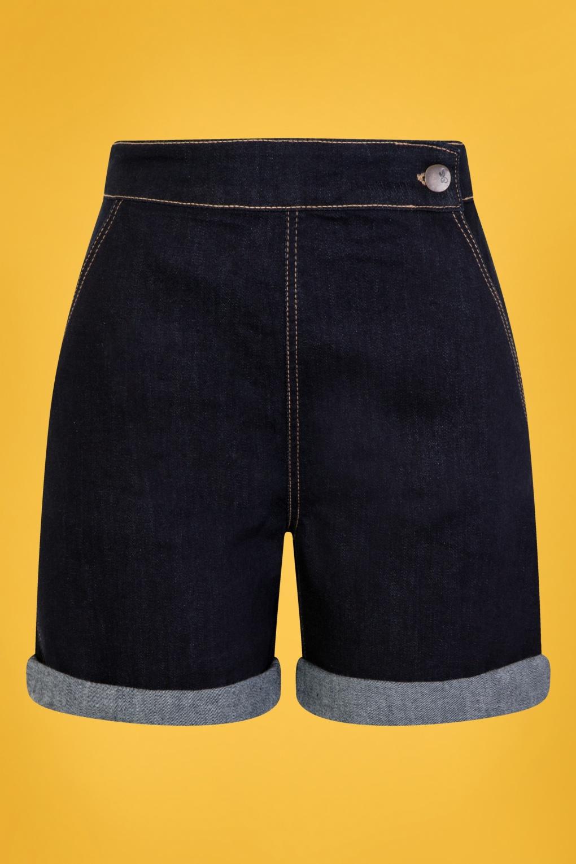 Vintage High Waisted Shorts, Sailor Shorts, Retro Shorts 50s Yaz Denim Shorts in Navy �27.41 AT vintagedancer.com