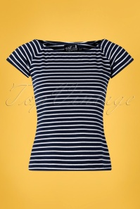 50s Verity Top in Navy and White Stripes