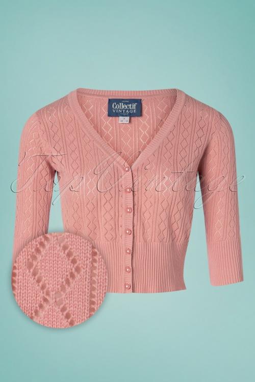 Collectif Clothing 27373 Linda Cardigan in Pink 20180813 001W1