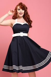 50s Georgie Nautical Halter Swing Dress in Navy