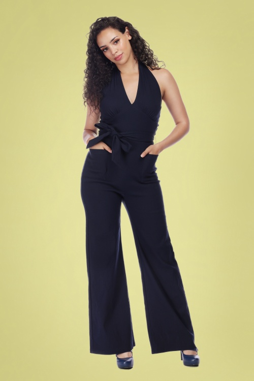 Collectif Clothing 27431 Bella Plain Jumpsuit in Blue 20180816 020MW