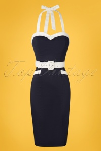 50s Georgie Nautical Halter Pencil Dress in Navy