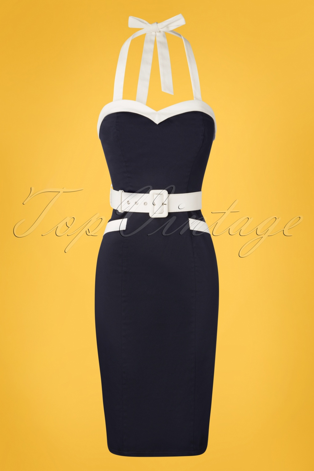 50 Vintage Inspired Clothing Stores 50s Georgie Nautical Halter Pencil Dress in Navy £56.57 AT vintagedancer.com
