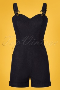 50s Willow Denim Playsuit in Navy