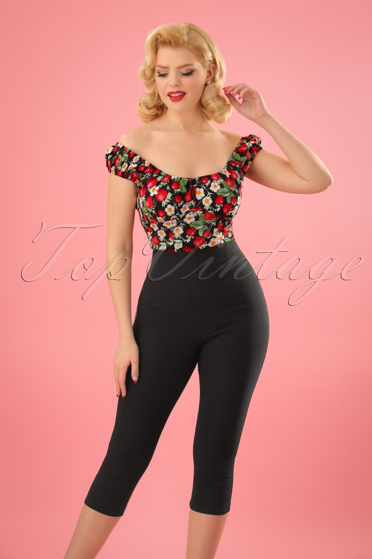 1950s Pants & Jeans- High Waist, Wide Leg, Capri, Pedal Pushers 50s Tina Capri Pants in Black �27.41 AT vintagedancer.com