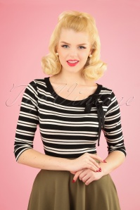 50s Janice Stripes Top in Black and White