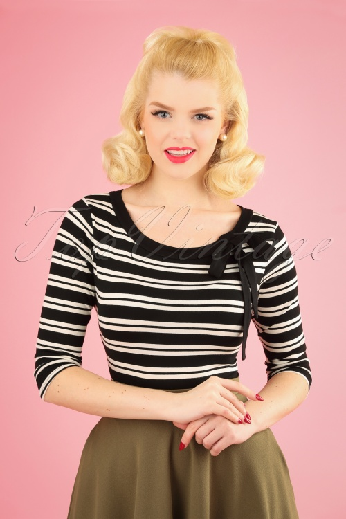 TopVintage Boutique Collection 28787 Black and White Bow Top 20190122 1W