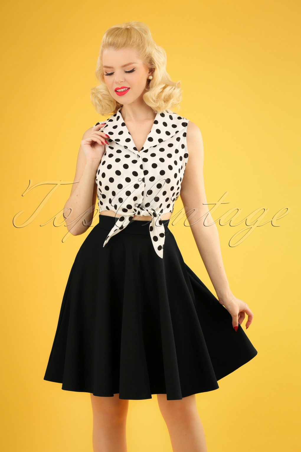 1940s Dresses and Clothing UK | 40s Shoes UK 50s Julie Swing Skirt in Black �32.45 AT vintagedancer.com