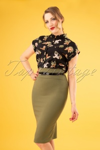 50s Feline Pencil Skirt in Olive Green