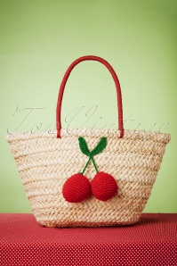 50s Cherry Pom Pom Wicker Bag in Natural