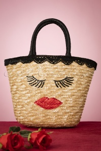 Lips and Lashes Wicker Bag Années 50 en Naturel