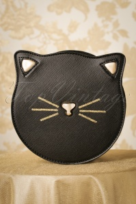 50s Molly Cat Face Handbag in Black