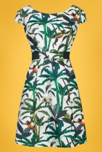 Smashed Lemon 60s Jungle Monkey Dress in White