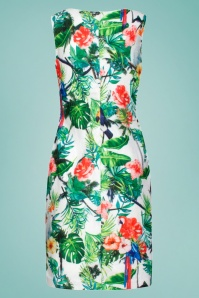 Smashed Lemon 27741 Tropical Parrot Pencil Dress 2W