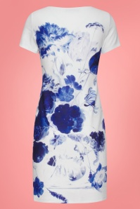 Smashed Lemon 27738 White Blue Floral Dress 2W