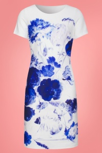 Smashed Lemon 27738 White Blue Floral Dress 1W