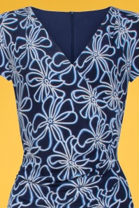 Smashed Lemon 27737 Navy White Floral Pencil Dress 1V