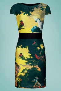 Smashed Lemon 60s Moss Parrot Pencil Dress in Yellow