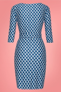 Smashed Lemon 27743 Blue and white Pencil Dress 2W