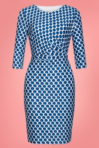 Smashed Lemon 27743 Blue and white Pencil Dress 1W