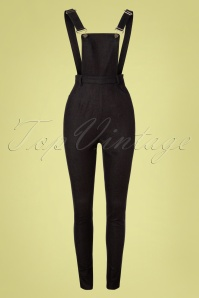 50s Becca Plain Denim Dungarees in Black