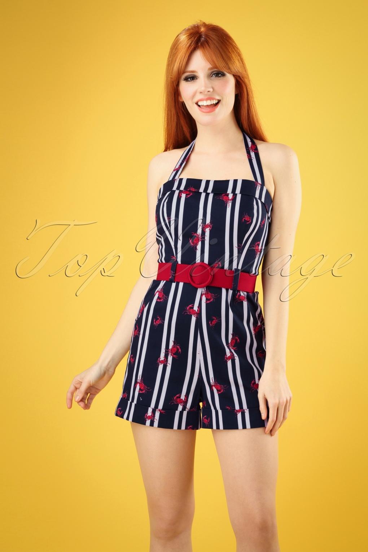 Sailor Dresses, Nautical Theme Dress, WW2 Dresses 50s Jojo Crabs And Stripes Playsuit in Navy �55.63 AT vintagedancer.com
