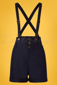 50s Nomi Dungaree Shorts in Denim Blue