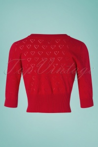 Collectif Clothing 27443 Evie Heart Cardigan in Red 20180813 003W