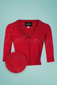 Collectif Clothing 27443 Evie Heart Cardigan in Red 20180813 001Z
