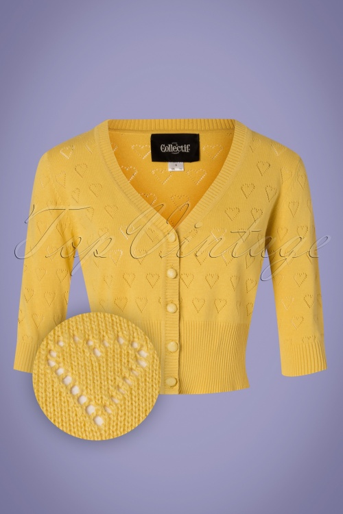 Collectif Clothing 27444 Evie Heart Cardigan in Yellow 20180813 001Z