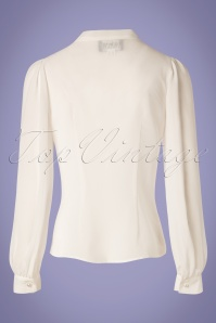 Collectif Clothing 27454 Luiza Plain Blouse in Ivory 20180813 008W