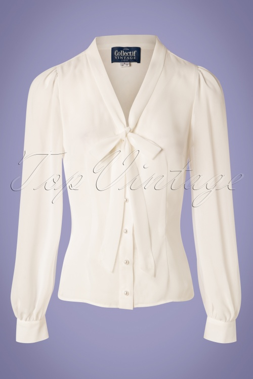 Collectif Clothing 27454 Luiza Plain Blouse in Ivory 20180813 006W