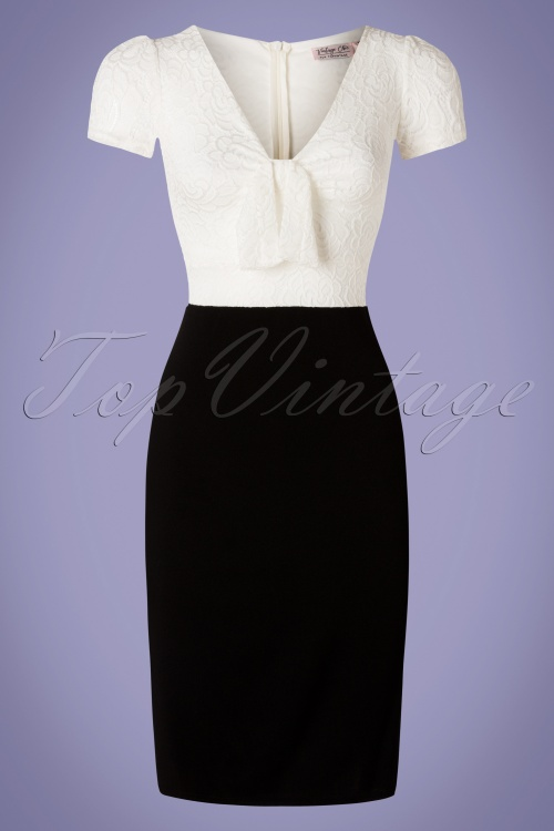 Vintage Chic 28805 Rose Lace White Black Dress 20190226 001W