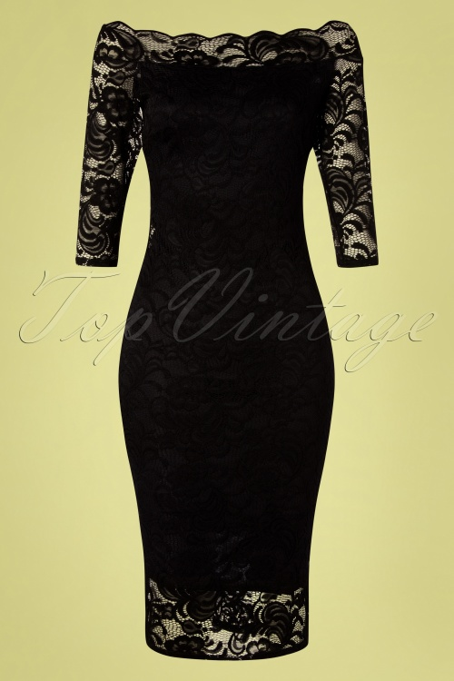 Vintage Chic 28781 Black Lace Pencil Dress 20190226 001W