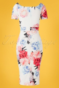 Vintage Chic 28763 White Floral Pencil Dress 20190226 007W