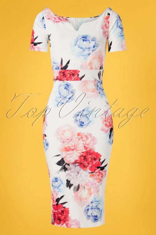 Vintage Chic 28763 White Floral Pencil Dress 20190226 003W