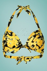 50s Monroe Poppy Floral Swim Top in Yellow