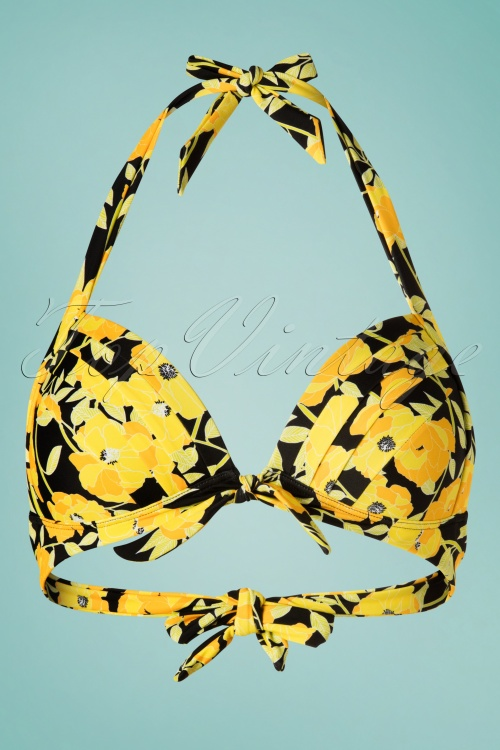 Unique Vintage 28583 28584 Yellow Floral Bikini 20190227 003W