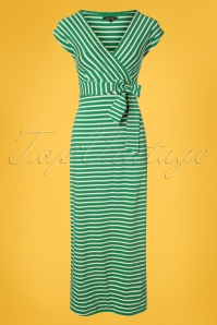 70s Lot Breton Stripe Maxi Dress in Peapod Green