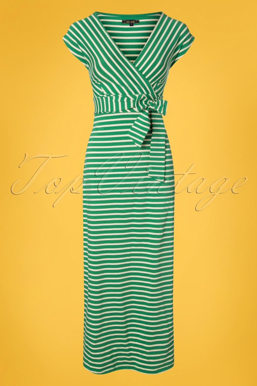 Sailor Dresses, Nautical Theme Dress, WW2 Dresses 70s Lot Breton Stripe Maxi Dress in Peapod Green �101.58 AT vintagedancer.com