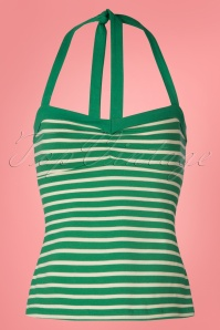 60s Lucy Breton Stripe Top in Peapod Green